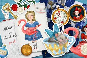 Alice in Wonderland, clip art set