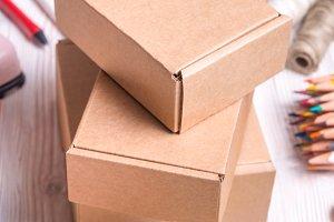 Set of cardboard boxes and stationer