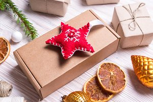 Handmade decor with cardboard box, C
