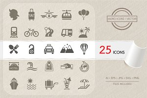 Travel and Transportation icon set