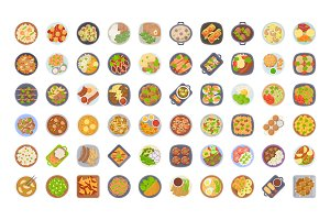 60 Food Dishes Flat Icons
