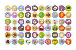 60 Cakes and Desserts Flat Icons