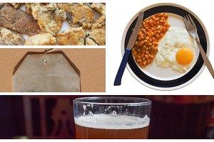 vegetarian English breakfast collage