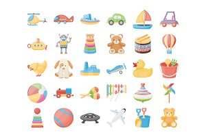 60 Toys Vector Icons