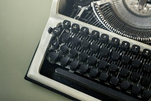Typewriter Close-up Top View. Journa