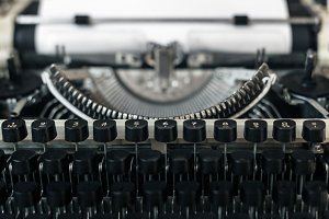 Vintage Typewriter Close-up. Journal