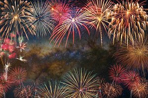 Multicolor Firework Celebration over