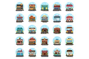 50 Store and Buildings Flat Icons