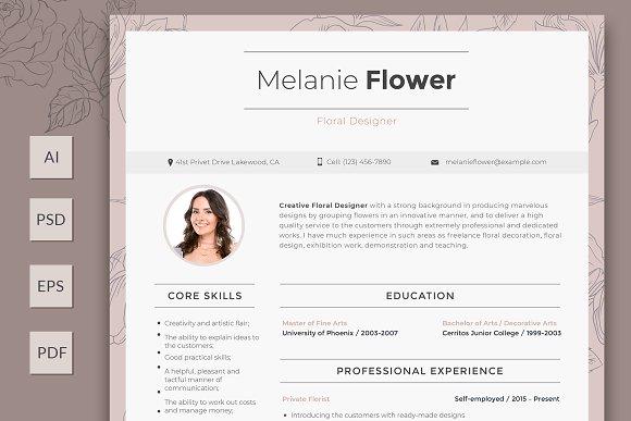 editable floral designer resume resume templates creative market