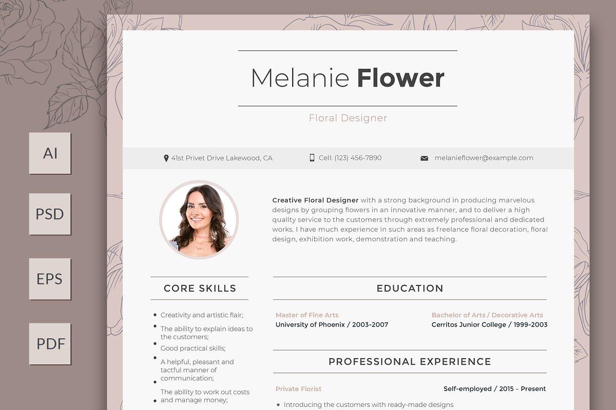 Editable Floral Designer Resume Templates Creative Market