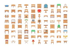 80 Wooden Furniture Vector Icons