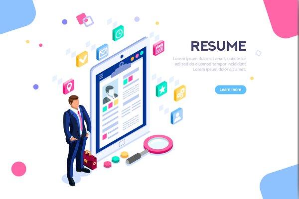 Isometric Businessman Resume