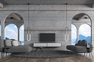 Modern loft living room concrete wal