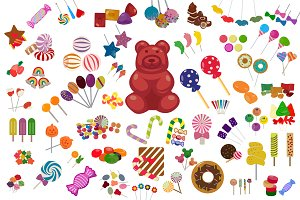 60 Sweet Candy Flat Icons