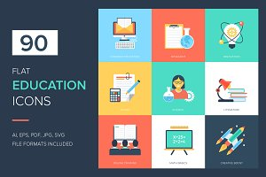 90 Education Flat Icons