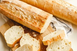 Fresh baguettes with a crisp crust.