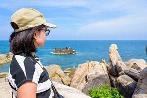 Woman tourist on viewpoint at Koh Sa
