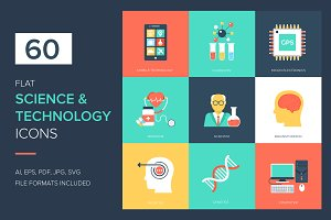 60 Science and Technology Flat Icons