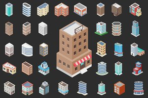 50 Isometric Building Icons