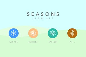 4 Simple Seasons Icon Set