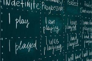Blackboard in an English class