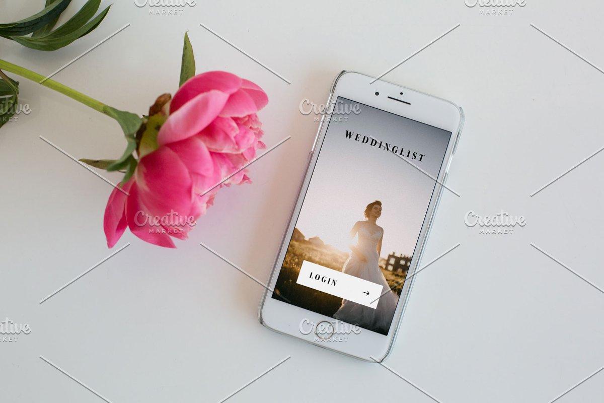MacBook Pro & iphone with peonies ~ Mobile & Web Mockups ~ Creative