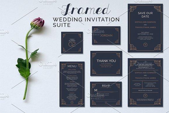 framed wedding suite invitation templates creative market