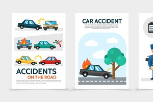 Flat auto accident vertical banners