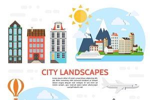 Flat city landscape elements set