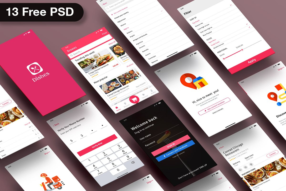 Food Delivery Near Me Mobile Ui Psd Creative Product Mockups