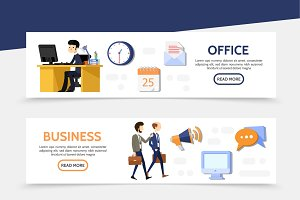 Flat business horizontal banners