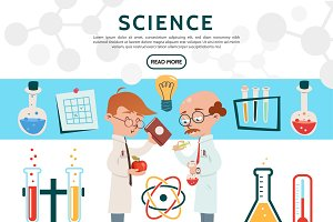 Flat science icons set
