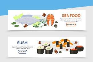 Flat seafood horizontal banners