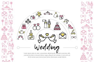 Wedding line icons template