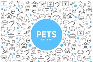 Pets line icons pattern