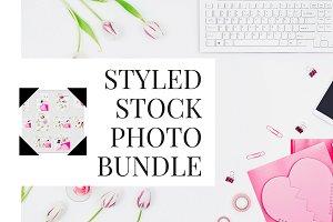 Pink flatlay styled stock photos