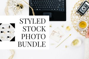 gold fall desk styled stock photos