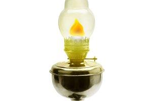 Burning kerosene lamp