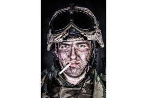 Marine in helmet