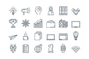 02 Outline BUSINESS icons set