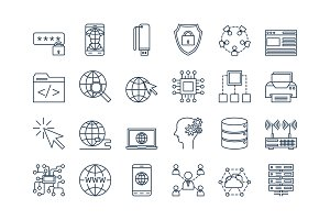 03 Outline INTERNET icons set