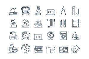 05 Outline SCHOOL EDUCATION icons