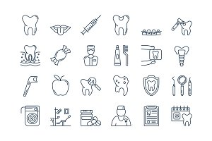 07 Outline DENTAL CARE icons set