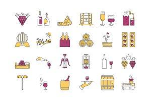 Linear COLOR icon set 4 - Wine