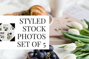 breakfast in bed styled stock photos