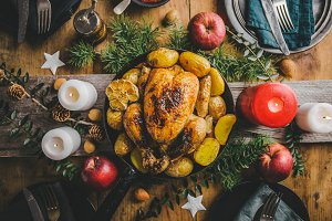 Christmas dinner table with chicken