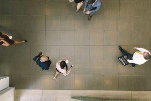 Defocused business people in a lobby