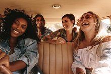 Group of women on road trip