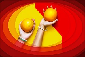 on a yellow red background in the ha