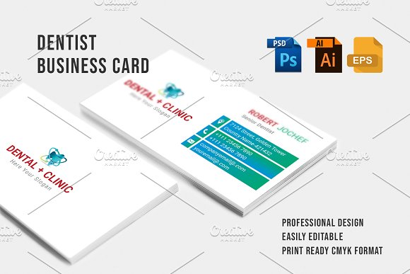 Dentist business card business card templates creative market dentist business card business cards cheaphphosting Choice Image